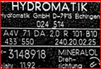 pompe HYDROMATIK A4V 71 DA 2.0 R 101 B10 433 550 240.20.02.25 3148918 11.92